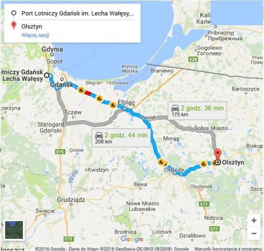 Lotnisko Gdańsk - Olsztyn