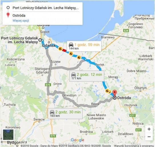 Lotnisko Gdańsk - Ostróda